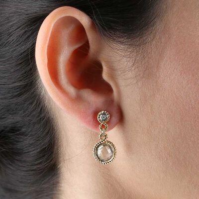 Green Quartz Dangle Earring 14K