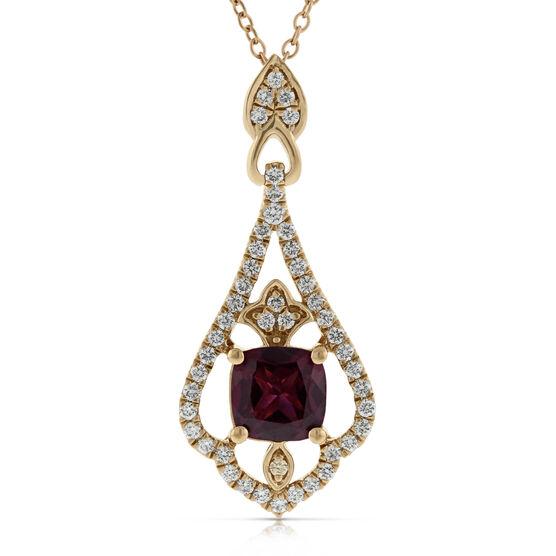 Rhodolite Garnet & Diamond Pendant 14K Rose