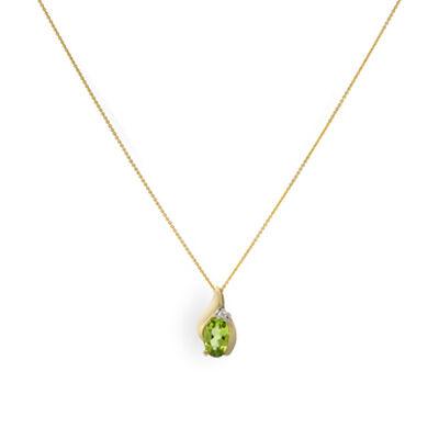 Peridot & Diamond Pendant 14K