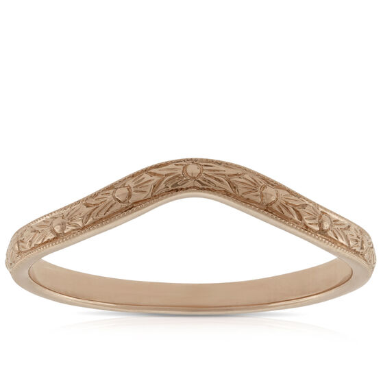 Hand Engraved Band, 14K Rose