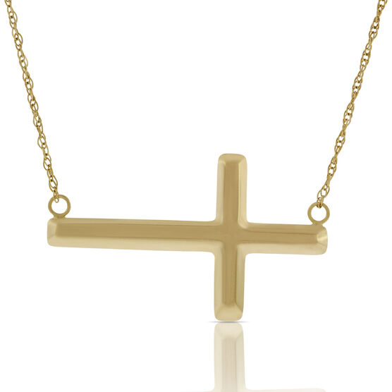 Horizontal Cross Necklace 14K