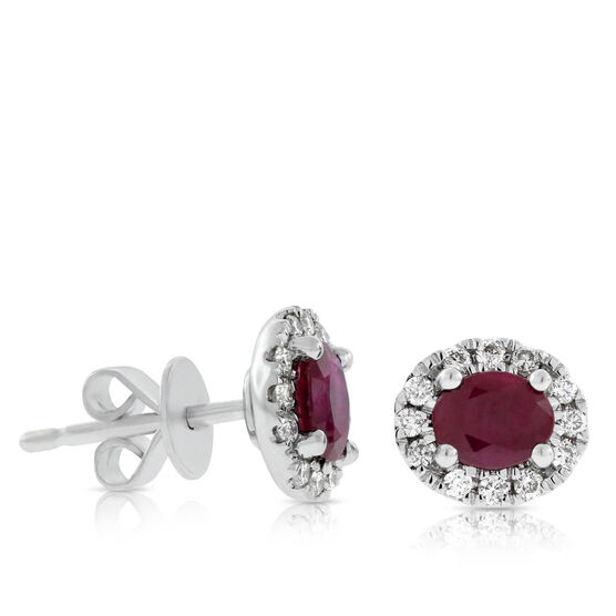 Oval Ruby & Diamond Halo Earrings 14K