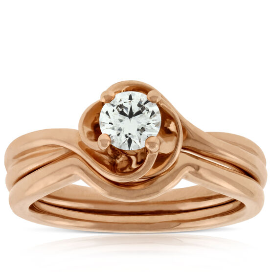 Rose Gold Diamond Wedding Set 14K