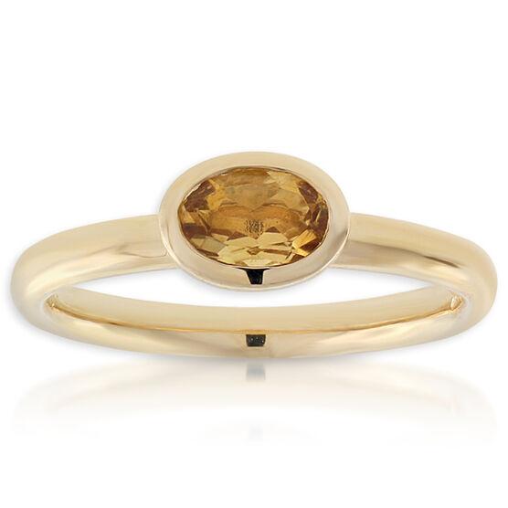 Citrine Stackable Ring 14K