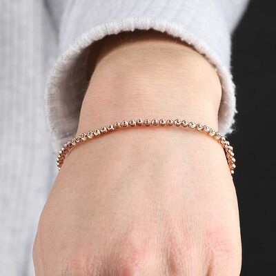 Rose Gold Stretchy Moon-Cut Bead Bracelet 14K
