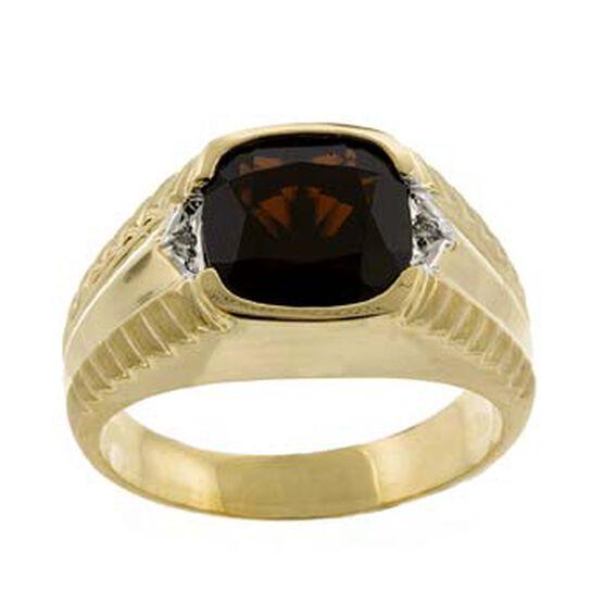 Men's Garnet & Diamond Ring 14K