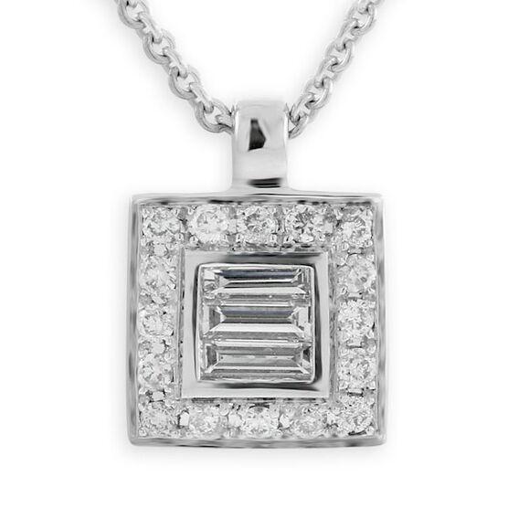 Diamond Square Pendant 14K