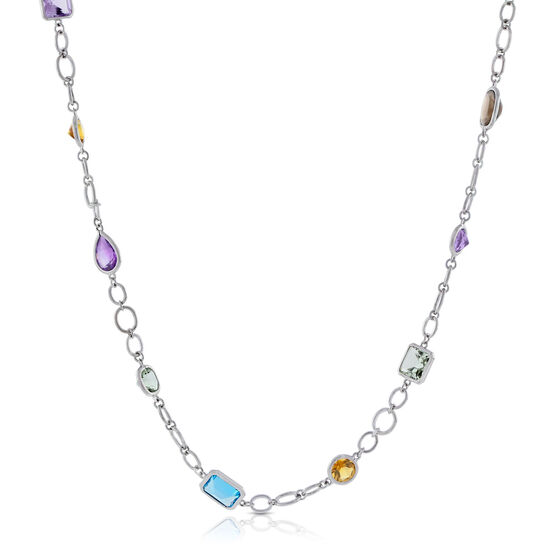 """Gemstone Necklace in Sterling Silver, 18"""""""