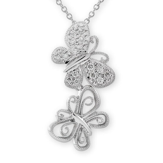 Diamond Butterfly Pendant 14K