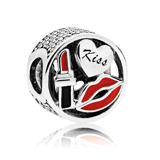 PANDORA Enamel & CZ Glamour Kiss Charm