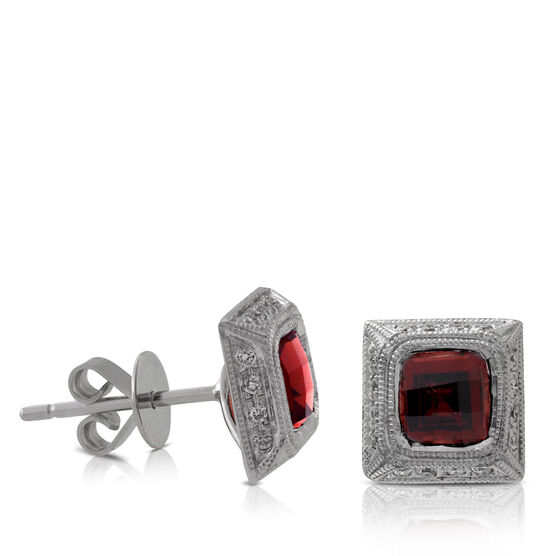 Garnet & Diamond Earrings 14K