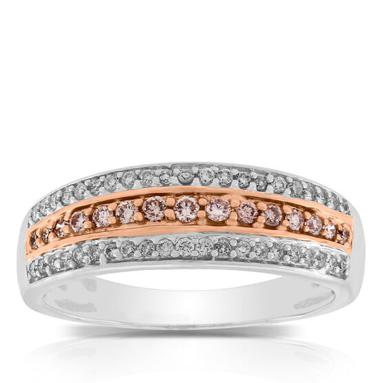 Pink & White Diamond Band 14K
