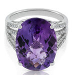 Oval Amethyst & Diamond Cocktail Ring 14K