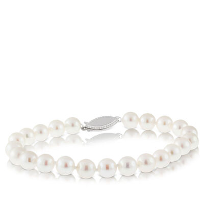 Akoya Cultured Pearl Bracelet 7mm, 14K
