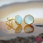 Lisa Bridge Sea Foam Chalcedony Button Earrings 14K