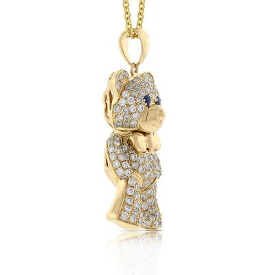 Benny Bear Diamond & Sapphire Pendant 14K Yellow