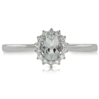 Aquamarine & Diamond Halo Ring 14K