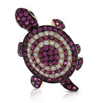 Ruby & Diamond Turtle Ring 14K