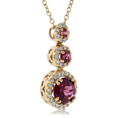 Rose Gold Rhodolite Garnet Pendant 14K