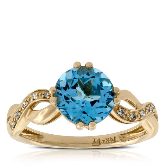 Round Blue Topaz & Diamond Ring 14K