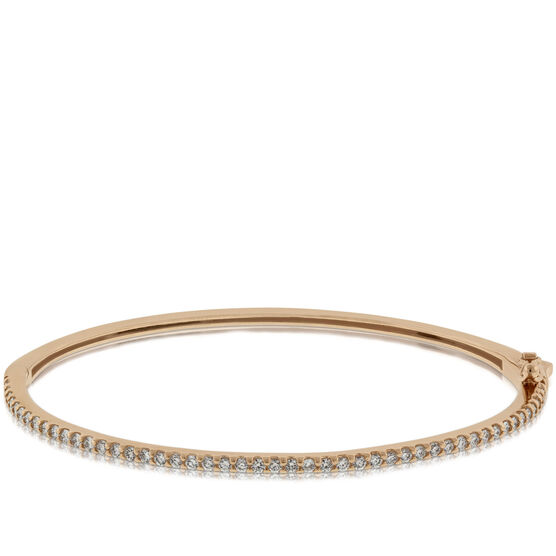 Rose Gold Diamond Bangle Bracelet 14K