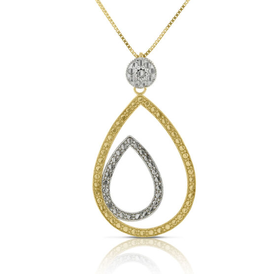 Diamond Cut Double Pear Shaped Pendant 14K