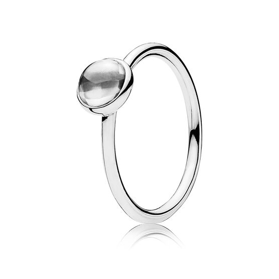 PANDORA Small Clear Poetic Droplet Ring