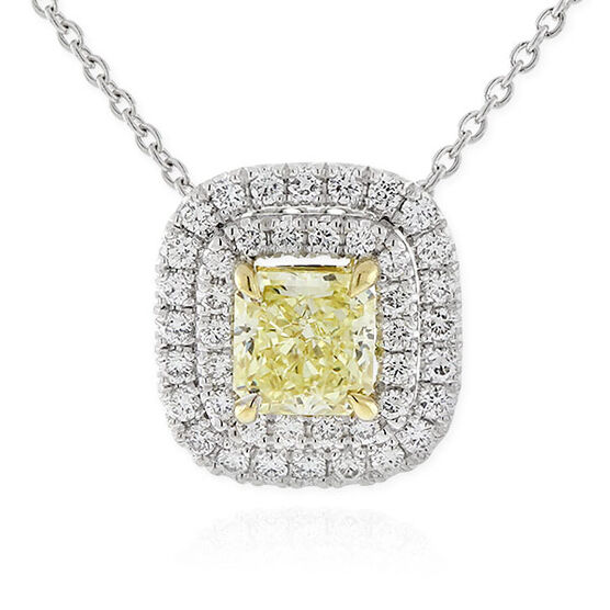 Radiant Cut Yellow Diamond Halo Pendant .60 Ct. Center, 18K