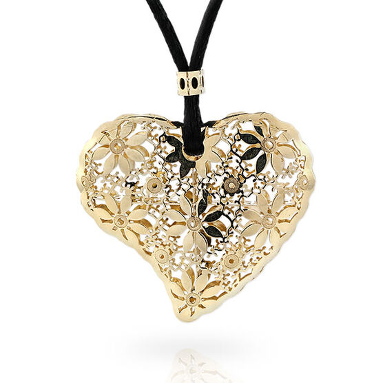 Flower Heart Necklace 14K