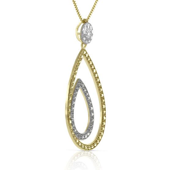Diamond Cut Double Pear Shaped Pendant 14K