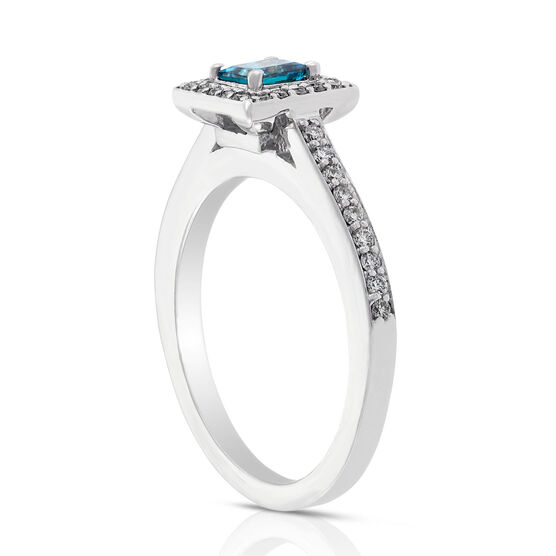Blue & White Diamond Ring 14K