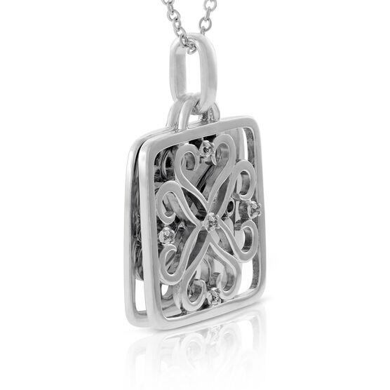 Diamond Square Pendant in Sterling Silver