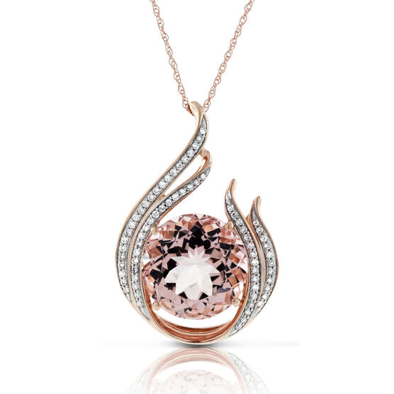 Morganite & Diamond Statement Pendant in Rose Gold 14K