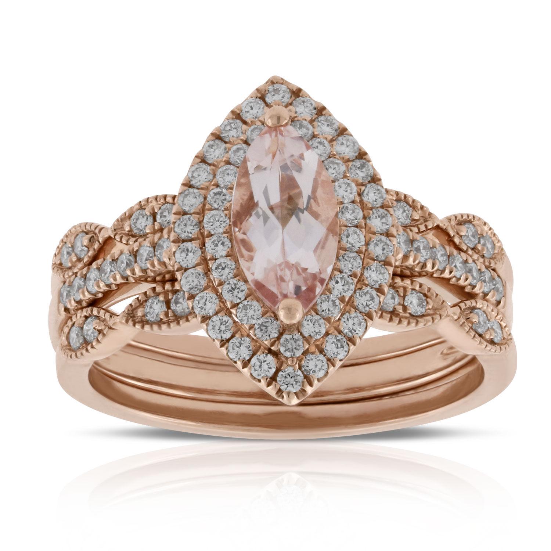 rose gold morganite u0026 diamond bridal set