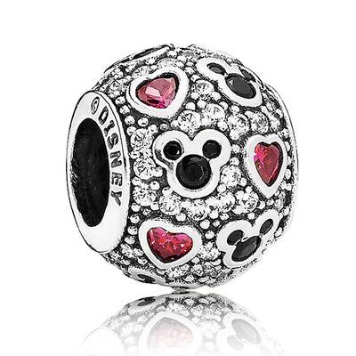 PANDORA Disney Sparkling Mickey & Hearts Charm