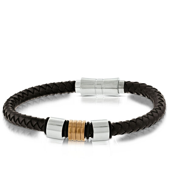 Men's Braided Leather & Steel Bracelet
