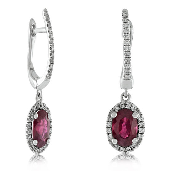 Dangle Ruby & Diamond Earrings 14K