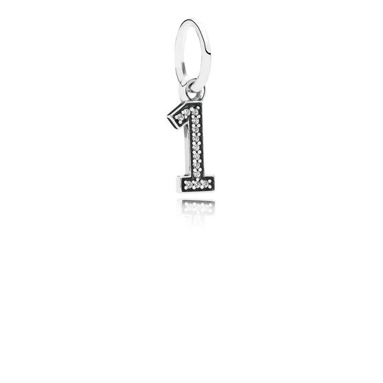 PANDORA CZ Dangle '1' Charm