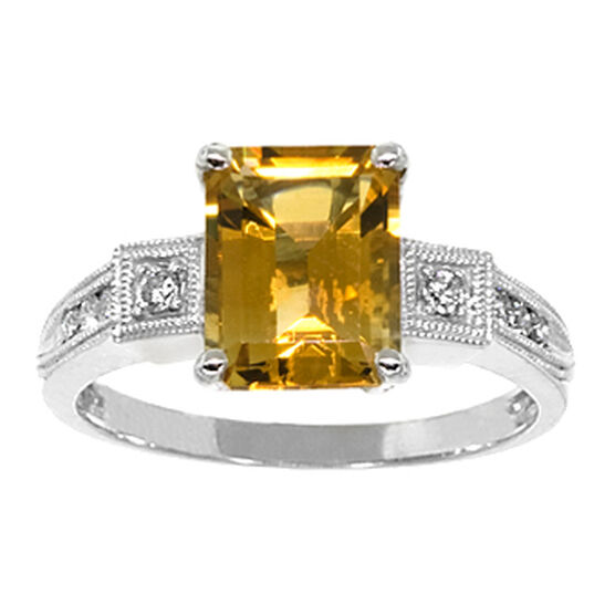 Citrine & Diamond Ring 14K