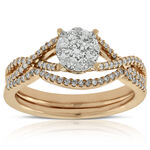 Rose Gold Love Eternal Diamond Wedding Set 14K
