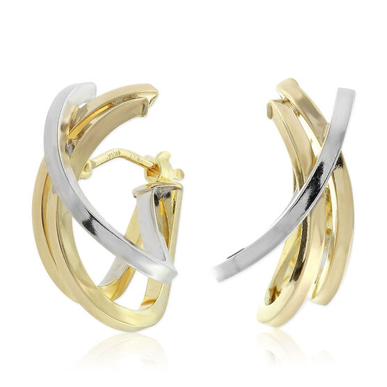 Toscano Collection Two-Tone Contemporary Hoop Earrings 14K