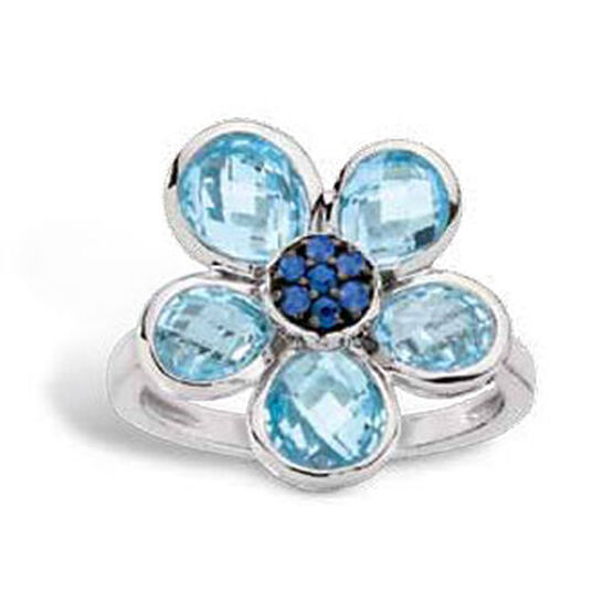 Flower Gemstone Ring 14K