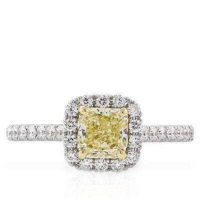 Radiant Cut Yellow Diamond Halo Ring
