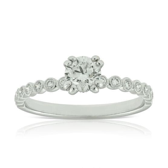 Double Prong Diamond Engagement Ring 14K