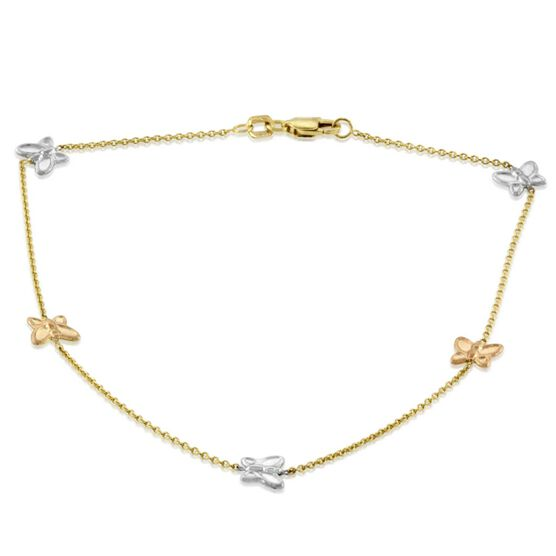 Tri-Colored Butterfly Anklet 14K