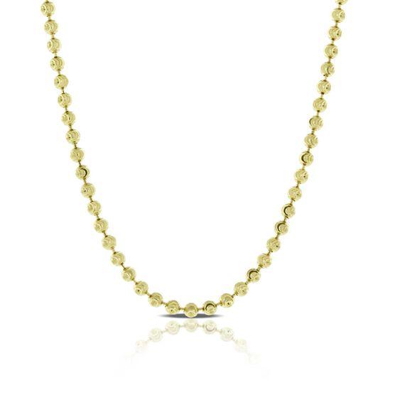 "Moon-Cut Bead Necklace 14K, 18"""