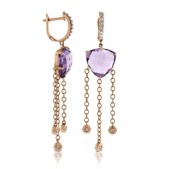 Rose Gold Diamond & Amethyst Dangle Earrings 14K