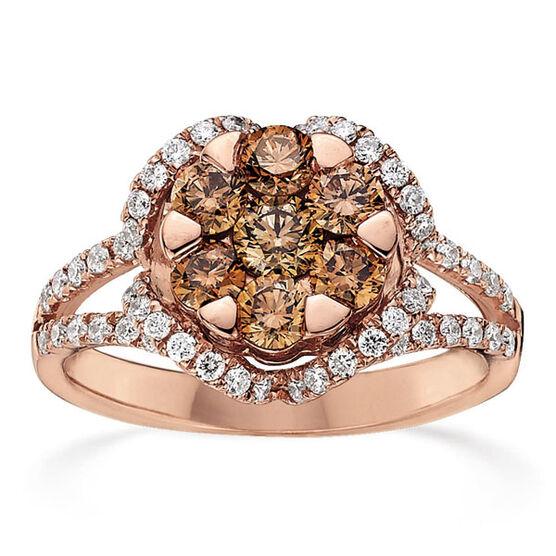 Brown & White Diamond Ring 14K