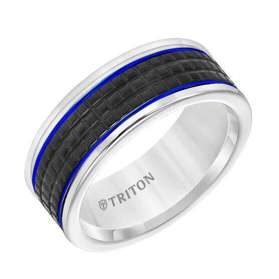 TRITON Tungsten Blue Stripe Band