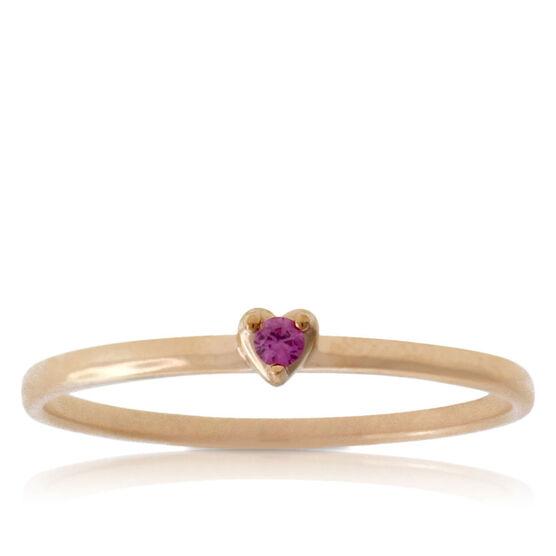 Pink Sapphire Heart Ring 14K
